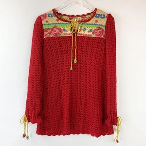 Free People Boho Crochet Quilt Red Sweater